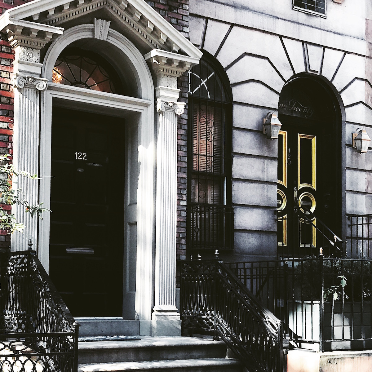 gold-black front door in Manhattan