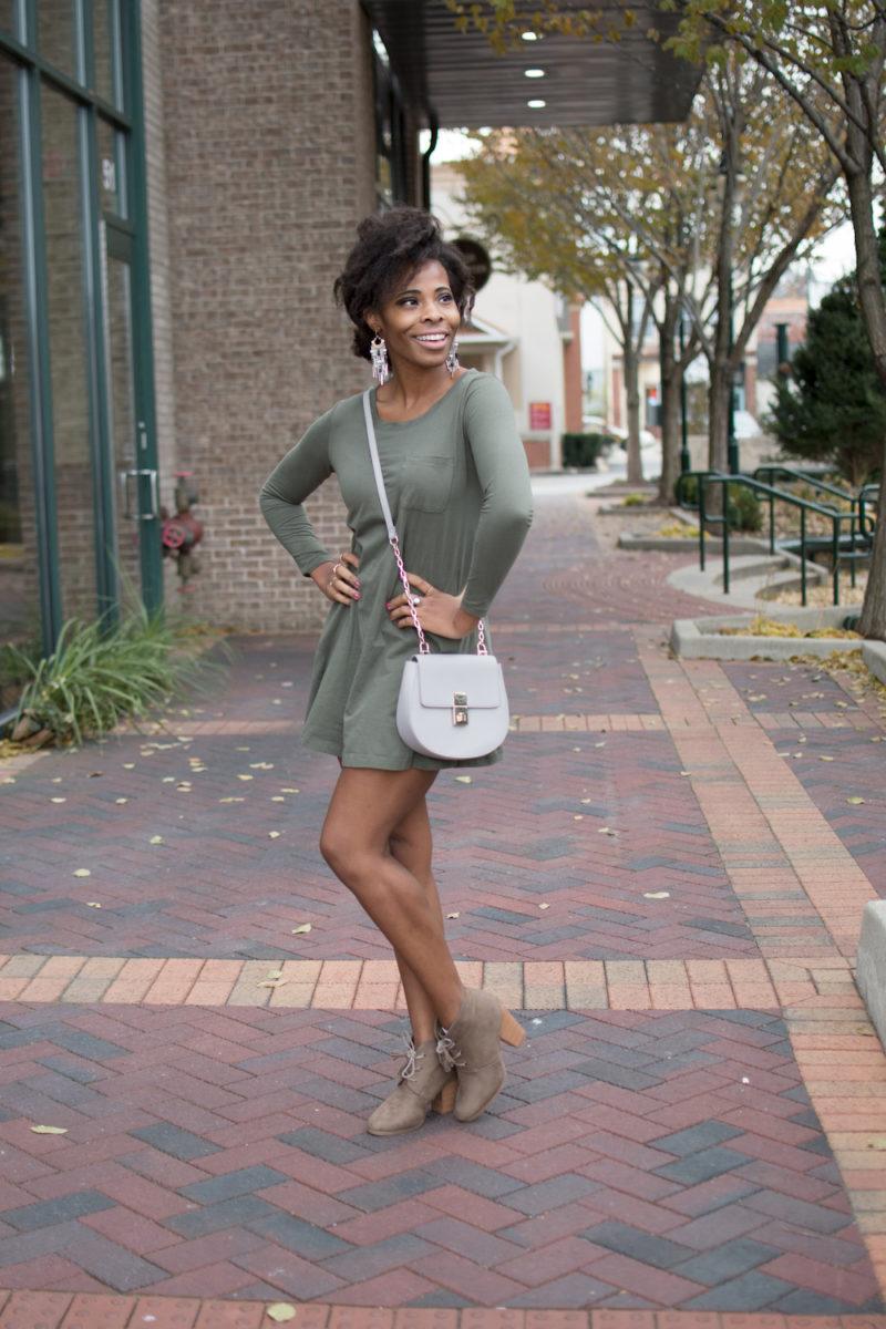 Olive Green Knit Dress