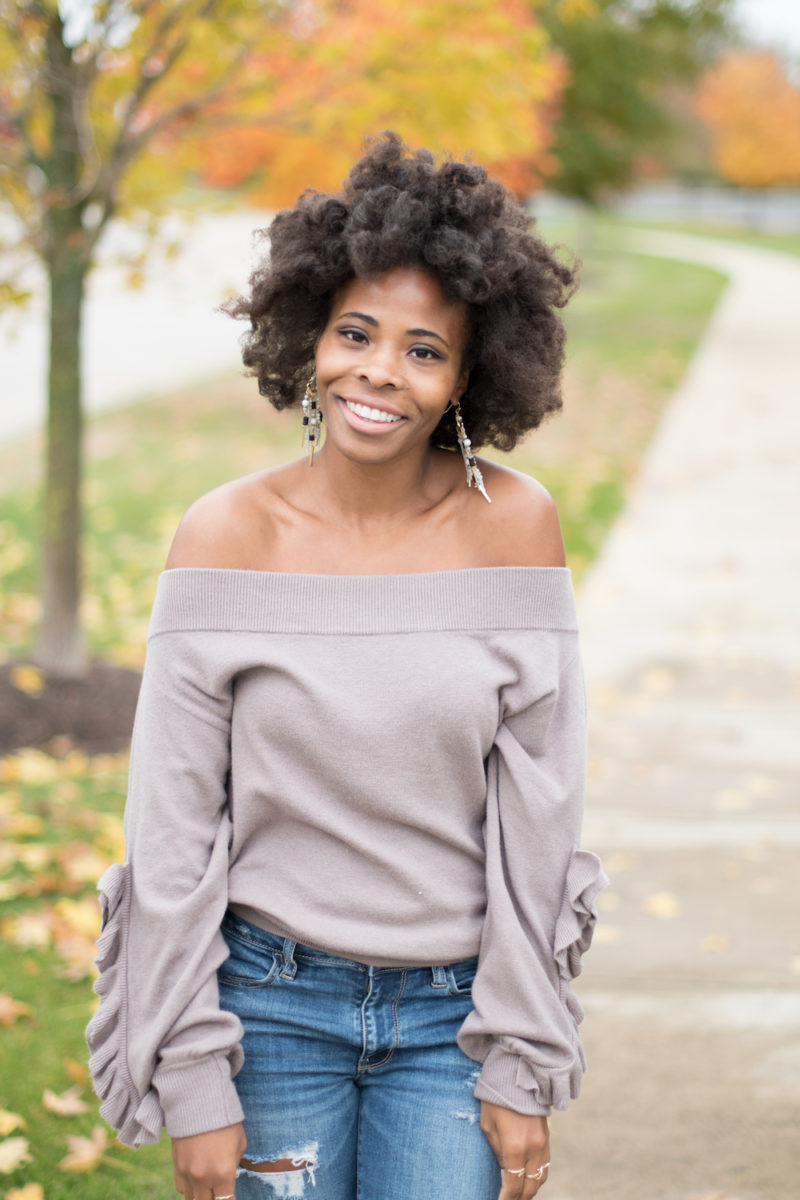taupe off the shoulder ruffle sleeve sweater