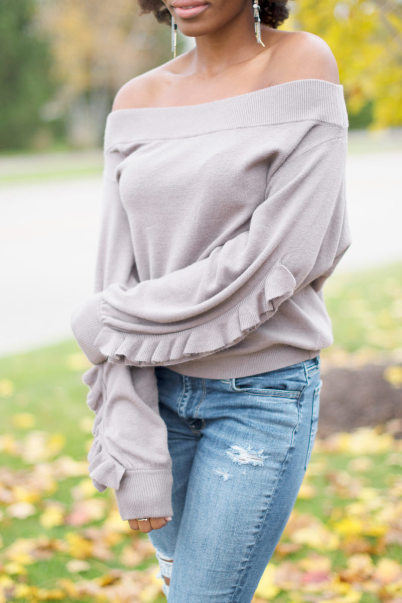 Feeling Fall | Taupe Off the Shoulder Sweater - All the Ambience ...
