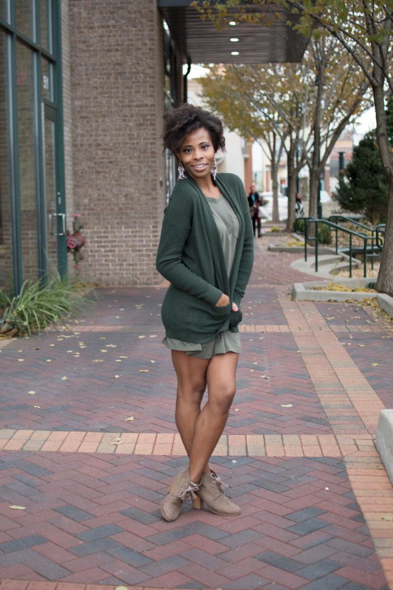 Green Cardigan on Green Knit Dress