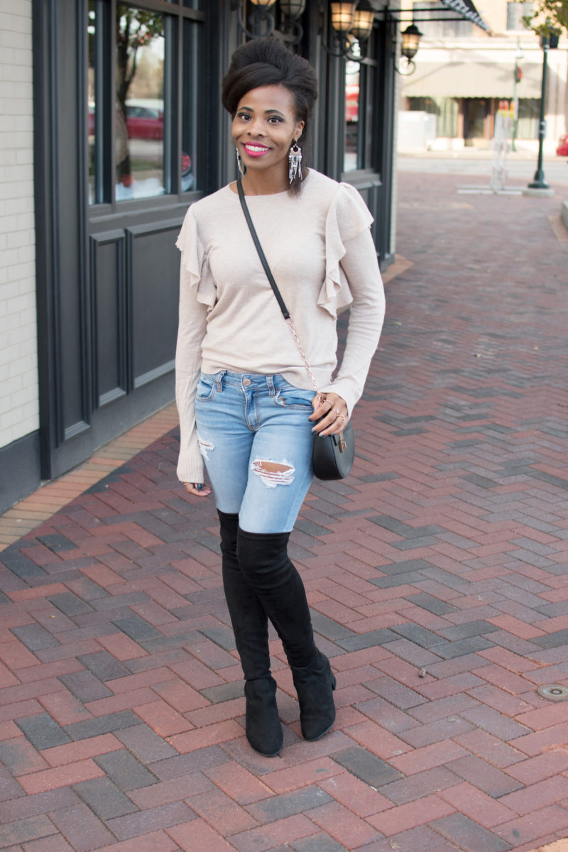 Oatmeal Ruffle Sweater